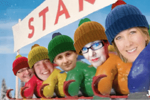 The Webdirexion Sled Team, left to right:  Scott, Miranda, Serhii (who gets his revenge after being hit with a snowball), Julie and Wendy.
