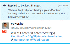 Reply to Klout Leader as a social media engagement tactic