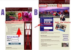 We reviewed this A/B concept for an Inn during the webinar.