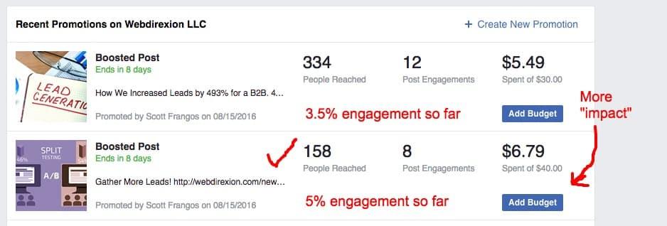 Facebook Impact posts