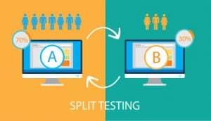 A/B Test Split Testing A-B comparison Concept with desktop icon