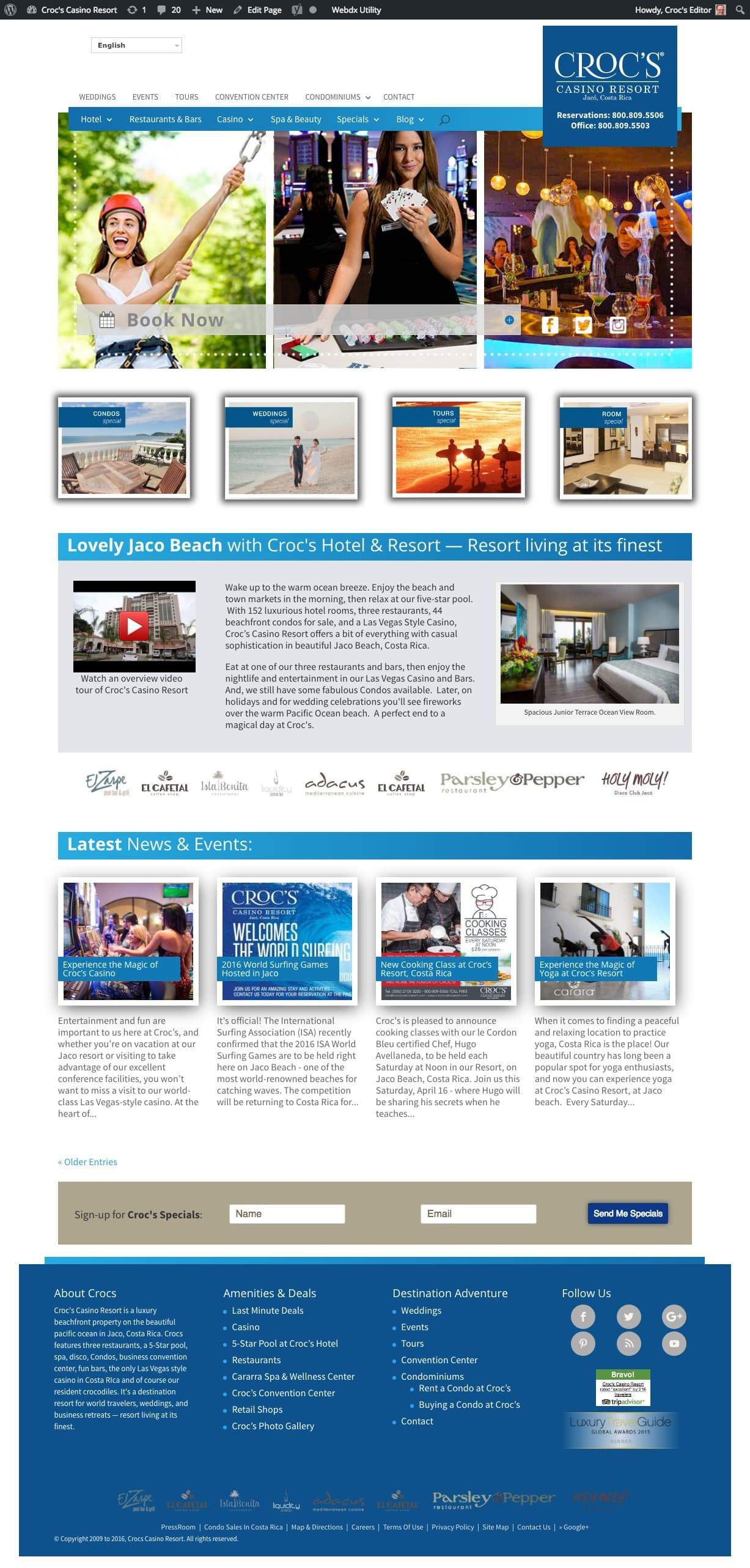 Croc's Resort Services Pro Hotel Website with Booking Solution 3