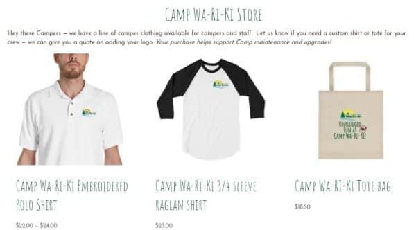 Camp WaRiKi Store