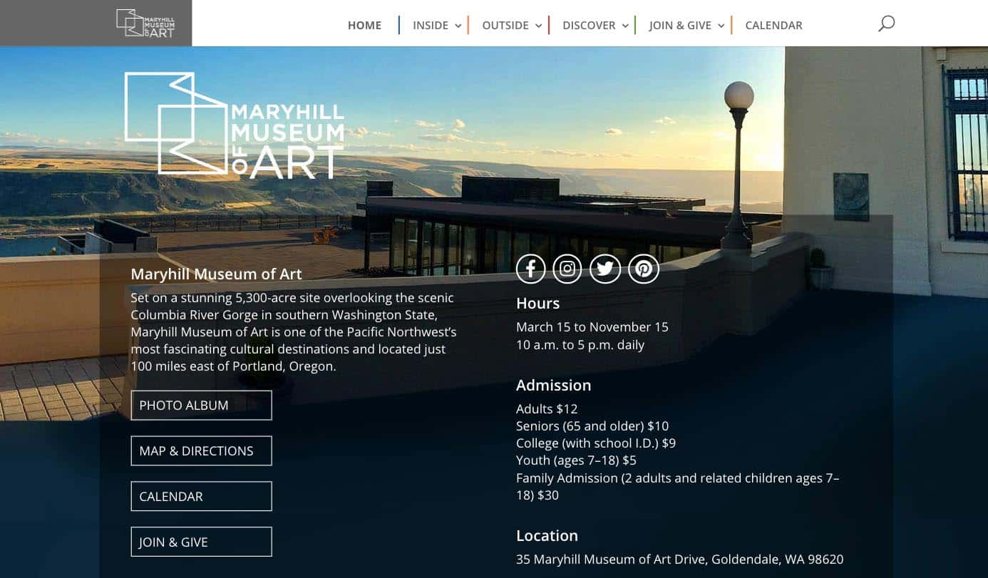 Maryhill Museum Professional WordPress Website 1